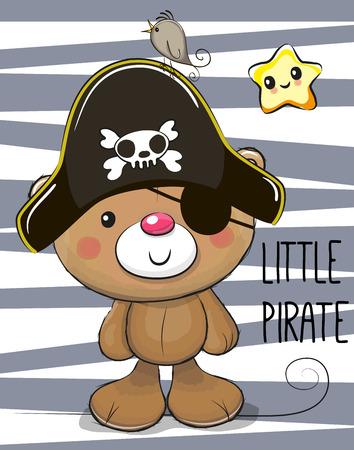 海賊の帽子でかわいい漫画テディベア