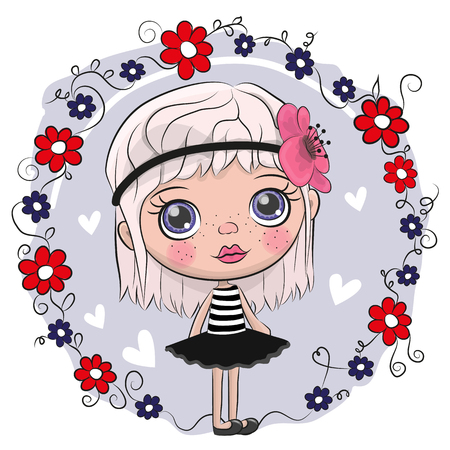 Cute Cartoon Girl and flowers on a blue background