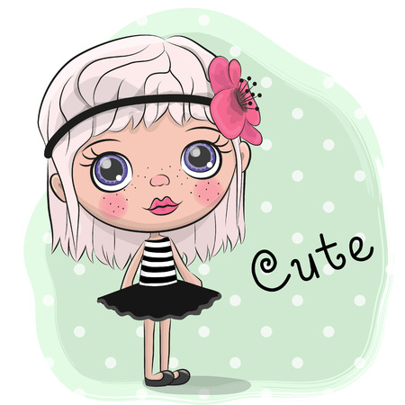 Cute Cartoon Girl with a flower in hair Ilustração