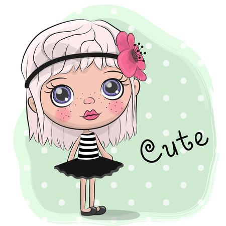 Cute Cartoon Girl with a flower in hair Illustration