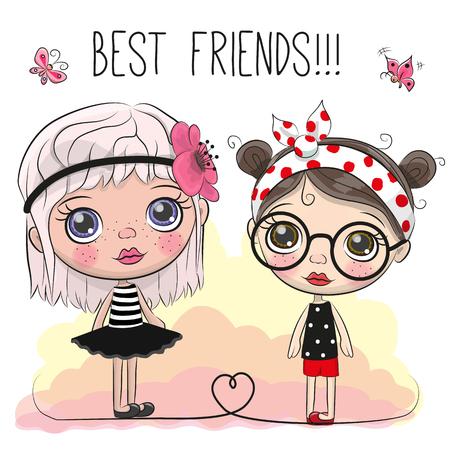 Two friends Cute cartoon girls with big eyes Illustration