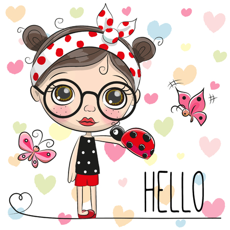 Cute Cartoon Girl with a ladybug and butterflies 일러스트