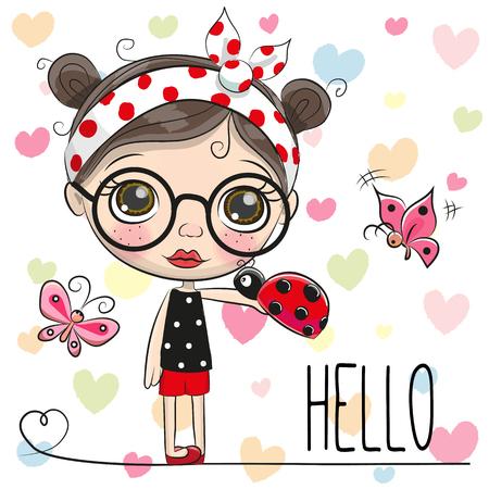 Cute Cartoon Girl with a ladybug and butterflies 일러스트