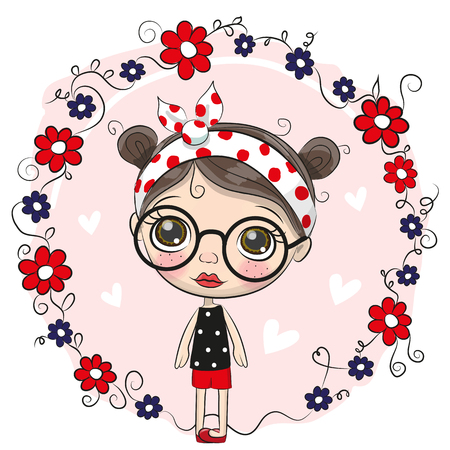 Cute Cartoon Girl with big glasses on a pink background.