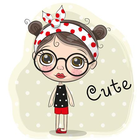 Cute Cartoon Girl with a big glasses.
