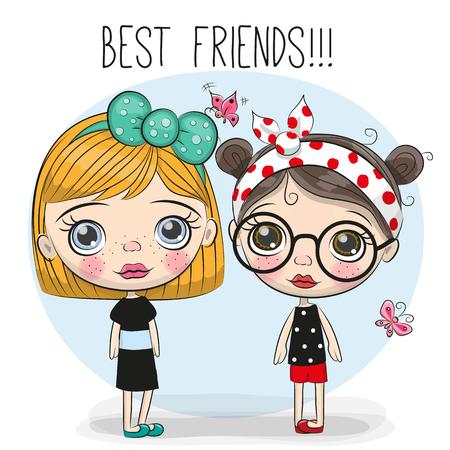 두 친구 큰 눈을 가진 귀여운 만화 소녀