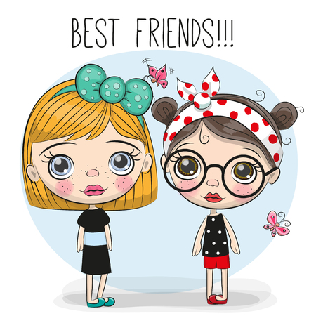 Two friends Cute cartoon girls with big eyes Ilustração
