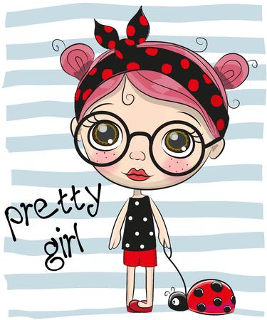 Cute Cartoon Girl with big glasses.