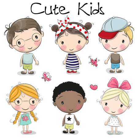 Set of Cute cartoon girls and boys on a white background
