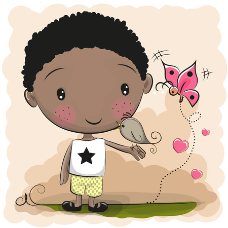 Cute Cartoon Boy with a bird and butterfly Illustration