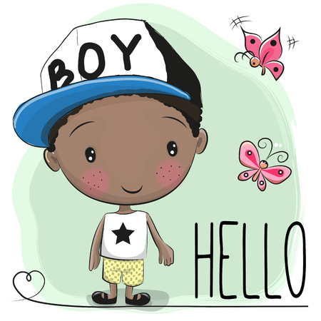 Cute Cartoon Boy with cap and butterfly