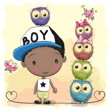 Cute Cartoon Boy in a cap and five Owls 向量圖像