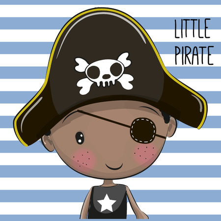 Cute Cartoon boy in a Pirate hat Ilustracja