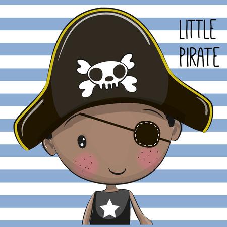 Leuke cartoonjongen in een piraathoed Stockfoto - 83922254