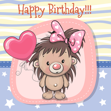 Greeting card Cute Cartoon Hedgehog girl with balloon