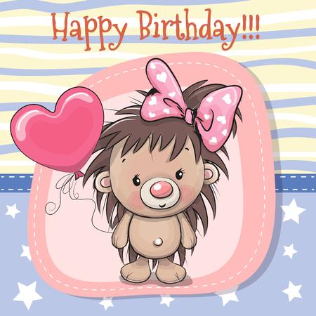 Wenskaart Cute Cartoon Hedgehog meisje met ballon Stock Illustratie