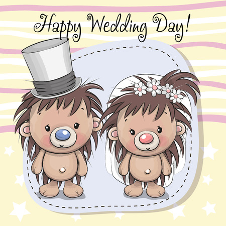 Greeting card Hedgehog Bride and Hedgehog groom Illustration
