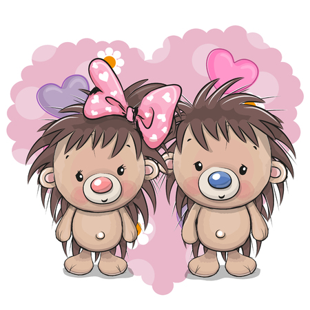Two Cute Cartoon Hedgehogs on a heart.