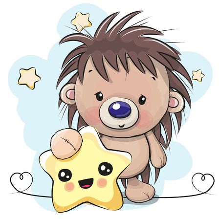 Cute Cartoon Hedgehog with star. Ilustracja