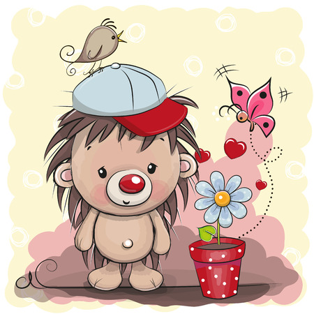 Greeting card cute cartoon Hedgehog with flower
