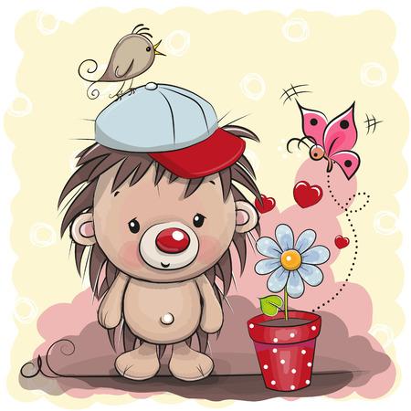 Wenskaart schattig cartoon egel met bloem Stock Illustratie