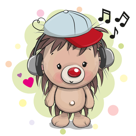 Cute cartoon Hedgehog with headphones and cap