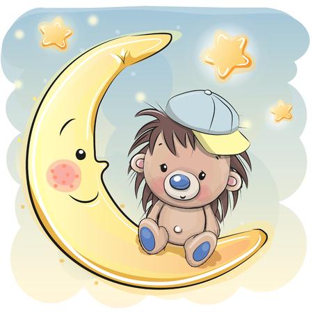 귀여운 만화 고슴도치 달에 앉아있다. 일러스트