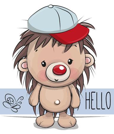 Cute Cartoon Hedgehog op een witte achtergrond