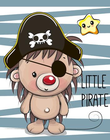 Leuke cartoon egel in een piraat hoed Stock Illustratie