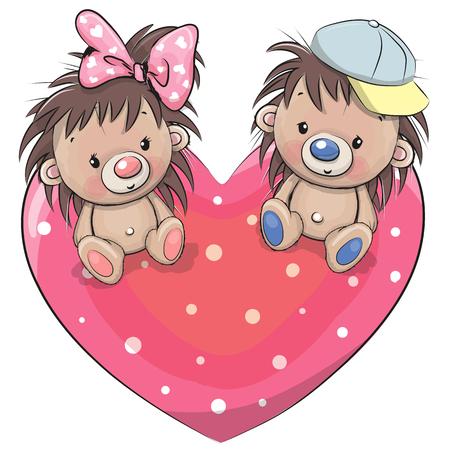 Twee schattige egels zitten op een hart Vector Illustratie