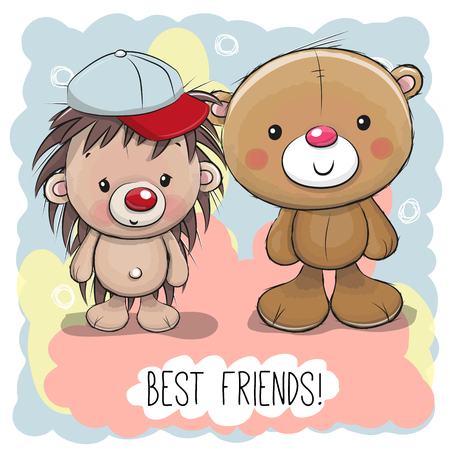 Cute Cartoon Bear and Hedgehog on a pink background Ilustração