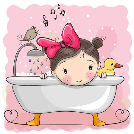 Cute Cartoon Girl dans la salle de bain Vecteurs