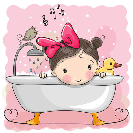 Cute cartoon Girl in the bathroom Stock Illustratie