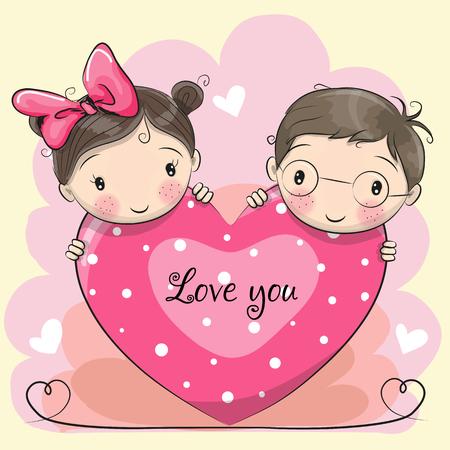 Valentine-kaart met jongen en meisje en een hart