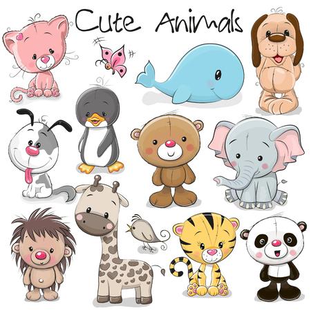 Conjunto de animales divertidos sobre un fondo blanco Foto de archivo - 84356189