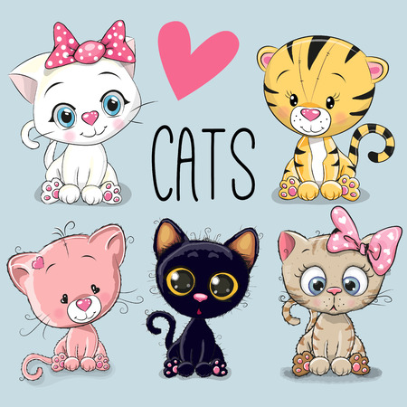 Set of cute cartoon cats on a blue background