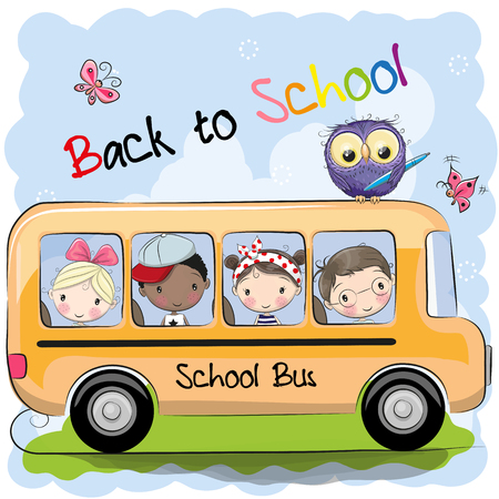 School bus and four cute cartoon kids and owl