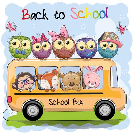 Autobús escolar y cuatro animales lindos de la historieta y cinco búhos