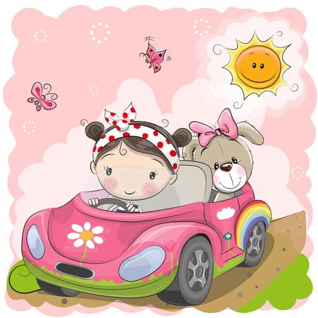 Cute Cartoon Girl drives a car with stuff bear toy