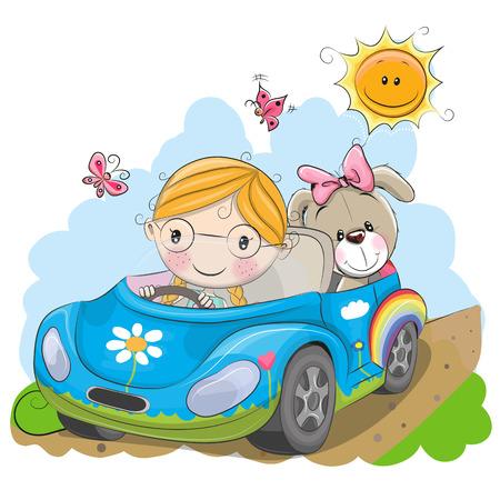 Cute Cartoon Girl goes on a car Stock Vector - 84947888