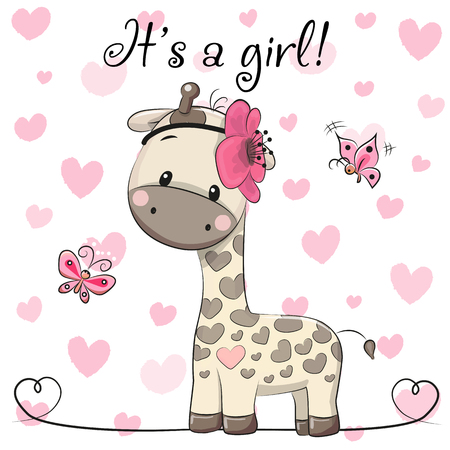 Baby Shower Greeting Card with cute Cartoon Giraffe girl