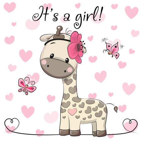 Tarjeta de felicitación de la fiesta de bienvenida al bebé con la muchacha linda de la jirafa de la historieta Ilustración de vector