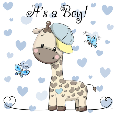 Baby Shower Greeting Card with cute Cartoon Giraffe boy