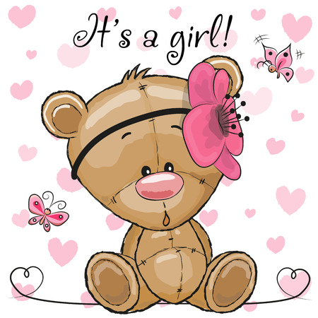 Baby Shower Greeting Card with cute Cartoon Teddy Bear girl Vettoriali
