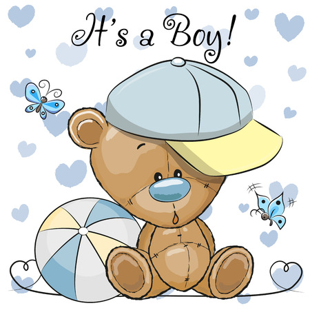 Baby Shower Greeting Card with cute Cartoon Teddy Bear boy Ilustracja