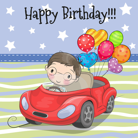バルーンが付いている車にグリーティング カードかわいい漫画少年