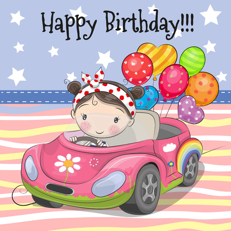 Greeting card Cute Cartoon Girl on a car with balloon