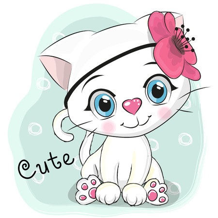 Cute Cartoon White Kitten with a flower on a blue background