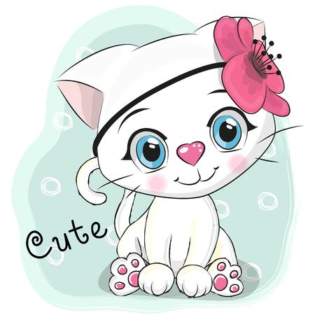 Gatinho branco bonito dos desenhos animados com uma flor em um fundo azul