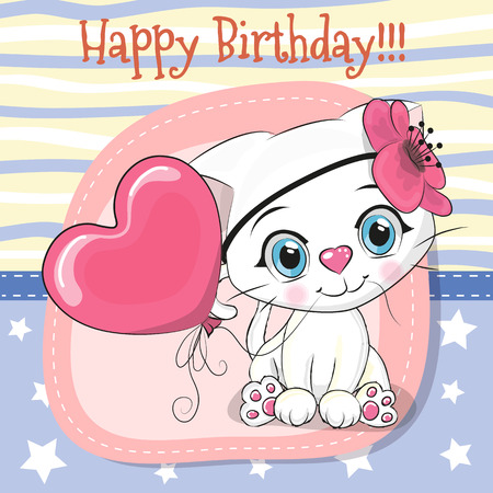 Greeting card Cute Cartoon white kitten with balloon